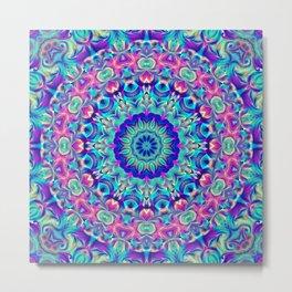 Flower Of Life Mandala (Neon Burst) Metal Print