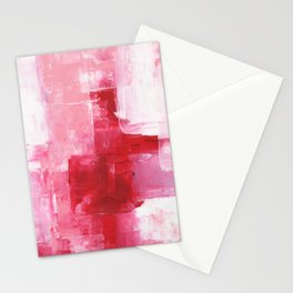Ejaaz Haniff Abstract Acrylic Palette Knife Painting Red Pink Hues: 'Heart Beat' Stationery Cards