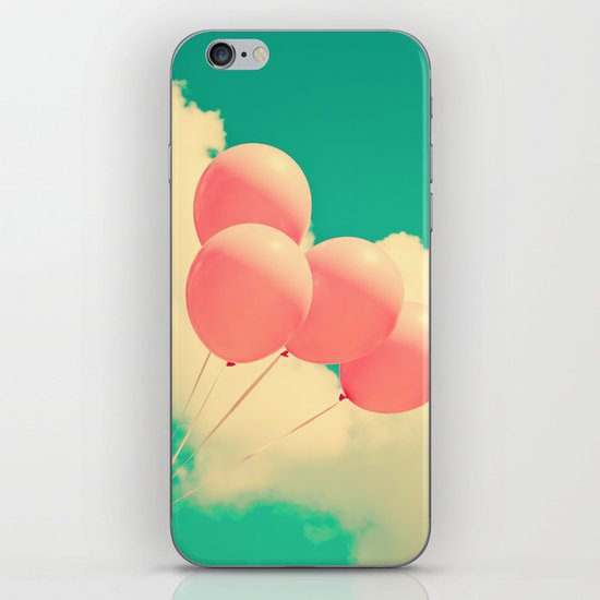Happy Pink Balloons on retro blue sky  iPhone & iPod Skin