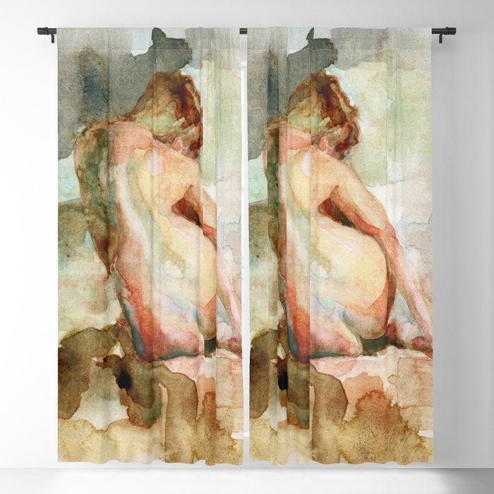 Watercolour Nude Woman Figure Expressive Colourful Painting of Female Blackout Curtain