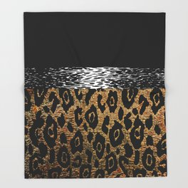 ANIMAL PRINT CHEETAH LEOPARD BLACK WHITE AND GOLDEN BROWN Throw Blanket