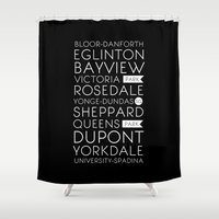 subway Shower Curtains featuring Toronto Subway by Victoria Breton