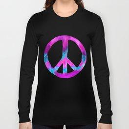Purple Turquoise Watercolor Tie Dye Peace Sign on Purple Long Sleeve T-shirt