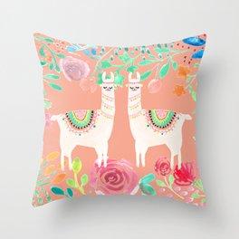 Llama in a floral frame Throw Pillow