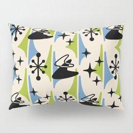 Mid Century Modern Cosmic Boomerang 726 Black Blue and Green Pillow Sham