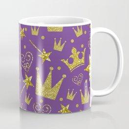 Purple & Gold Glitter Princess Coffee Mug