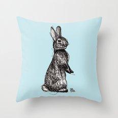 Blue Woodland Creatures - Rabbit Throw Pillow