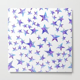 Colorful watercolor blue  stars on white Metal Print