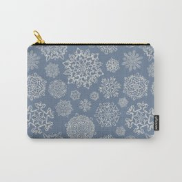 Merry Christmas- Abstract christmas snow star pattern on fresh grey  I Carry-All Pouch