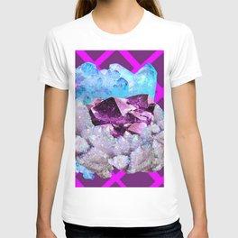 SPARKLY WHITE-BLUE & AMETHYST QUARTZ CRYSTALS PURPLE ART T-shirt