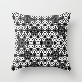 Japanese Asanoha or Star Pattern, Black and White Throw Pillow