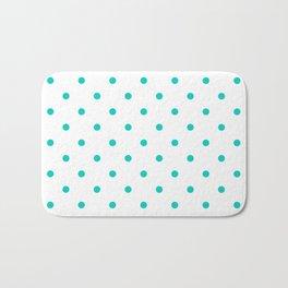 Aqua Small Polka Dots Pattern Bath Mat