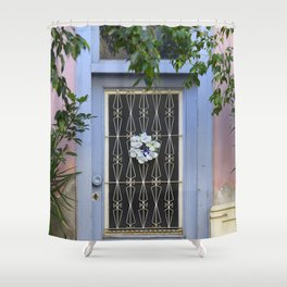 Door in port of Aegina 1 Shower Curtain