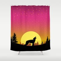coyote Shower Curtains featuring Coyote Moon by Julie Luke