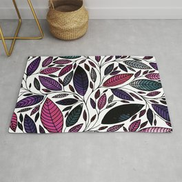 Leaf Illustraturation Purple Rose (P07064) Rug