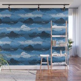 Birds in Cloudy Blue Sky Pattern Wall Mural