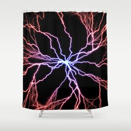 Electrical Lightning Discharge Blue to Red Shower Curtain