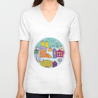 cityscape V-neck T-shirts featuring Cityscape Sketch by EkaterinaP