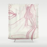 mouth Shower Curtains featuring Open Mouth by writingoverashes