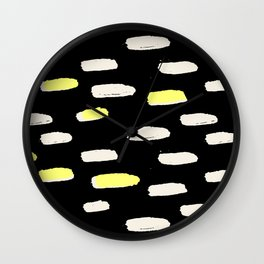 black with pressed linen & yellow /geometric series Wall Clock
