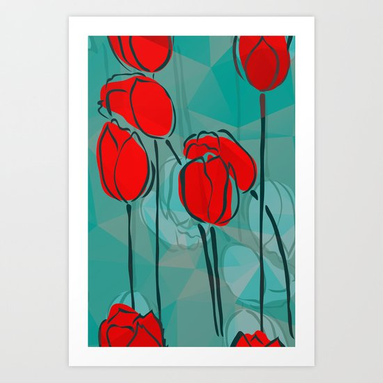 Abstract Tulips Art Print