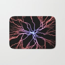 Electrical Lightning Discharge Blue to Red Bath Mat