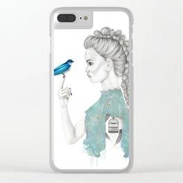 Bluebird girl Clear iPhone Case