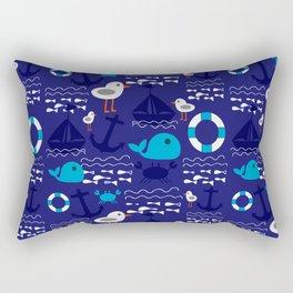 Summer boat blue Rectangular Pillow