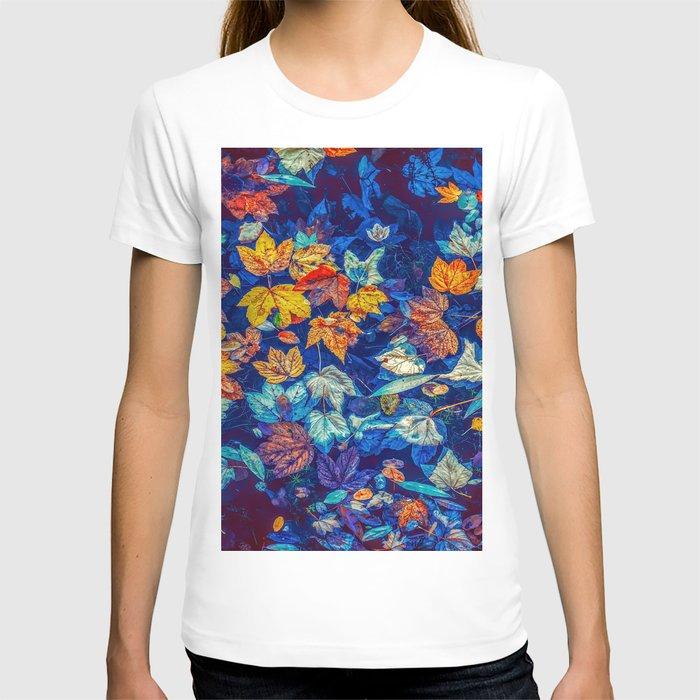 Blue Fall Leaves Autumn Nature Photography Art T-shirt