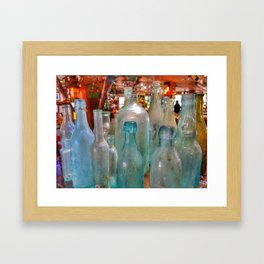 Glass Bottles Framed Art Print