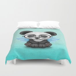 Cute Panda Cub with Fairy Wings and Glasses Blue Duvet Cover