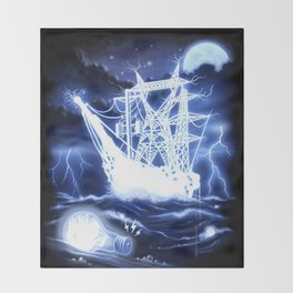 """High-Voltage Ghost Ship"" Throw Blanket"