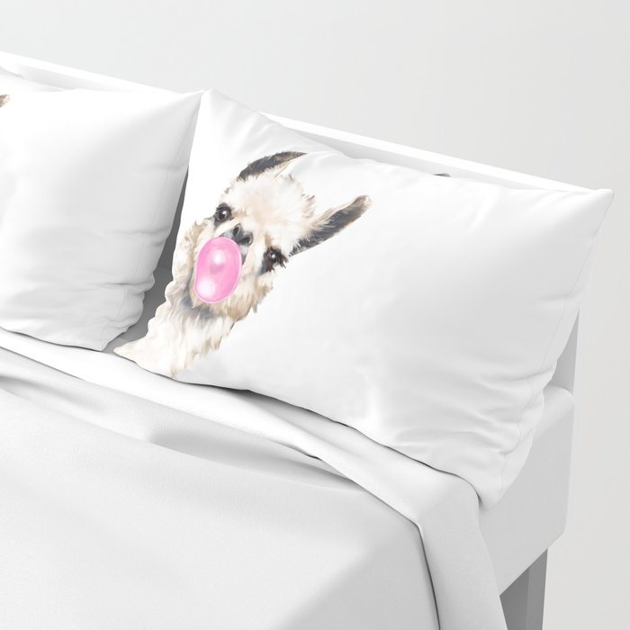 Bubble Gum Sneaky Llama Pillow Sham
