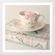 Rosey Tea and Book Art Print