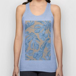 Island Sunrise Hibiscus Palm Orange Ocean Blue Unisex Tank Top