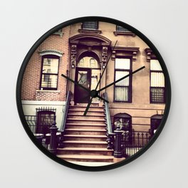 Brooklyn Brownstones Wall Clock