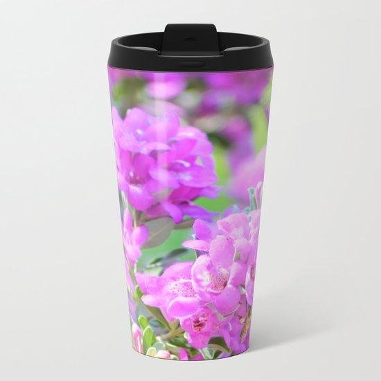 Purple Flowers in the Garden/ Floral/ Summer Sun Metal Travel Mug