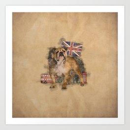 English Bulldog and England sketch Art Print