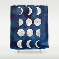 moon phases Shower Curtains featuring Moon phases by Bridget Davidson