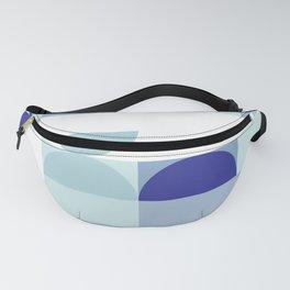Minimal Bauhaus Semi Circle Geometric Pattern 3 - Blue #buyart #society6 #minimalart Fanny Pack