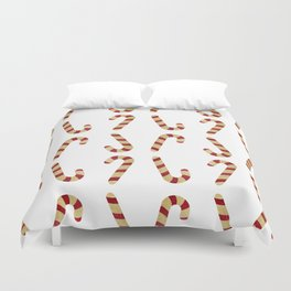 Red And Gold Glitter Candy Cane Duvet Cover