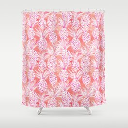 FLESHED OUT Tropical Pink Pineapples Shower Curtain