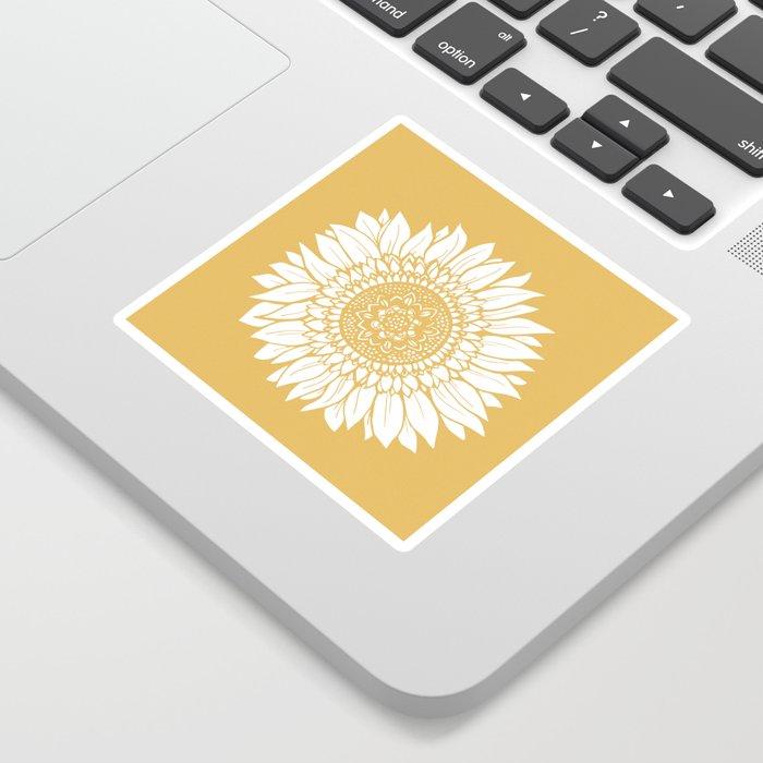 Yellow Sunflower Drawing Sticker