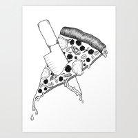 Pizza Never Dies - Black & White Art Print