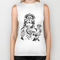 ganesh Biker Tanks featuring Ganesh by ShivaR