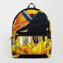 GRAPHIC BLACK CROW & YELLOW SUNFLOWERS ABSTRACT Backpack