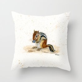 """""""Chippy"""" Chipmunk - animal watercolor painting Throw Pillow"""