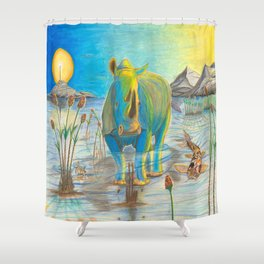 Rhino, Water Boy aka Puddles Shower Curtain