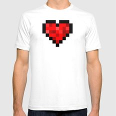8bit pixelated heart. Mens Fitted Tee White SMALL
