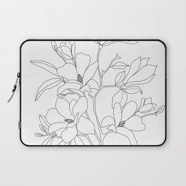 Minimal Line Art Magnolia Flowers Laptop Sleeve
